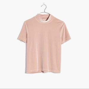 Madewell velvet top soft pink size s